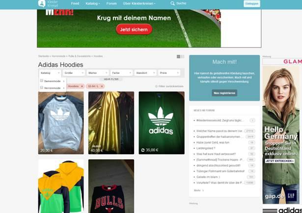 Adidas Kapuzenpullover bei Kleiderkreisel   Rue25 Notes 17dc910151