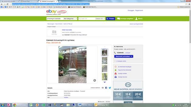 edelstahl schwenkgrill va 255 euro rue25 notizen. Black Bedroom Furniture Sets. Home Design Ideas