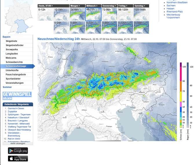 bergfex schneevorhersage