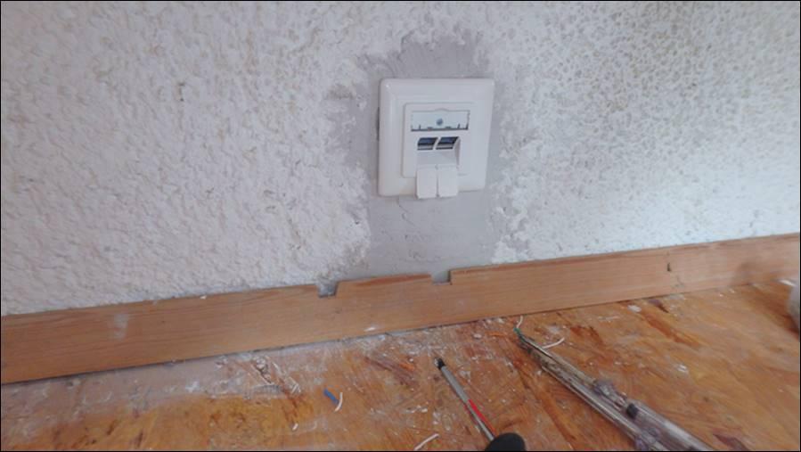 LAN Kabel Verlegen im Homeoffice Büro, Unterputz-LAN Dosen