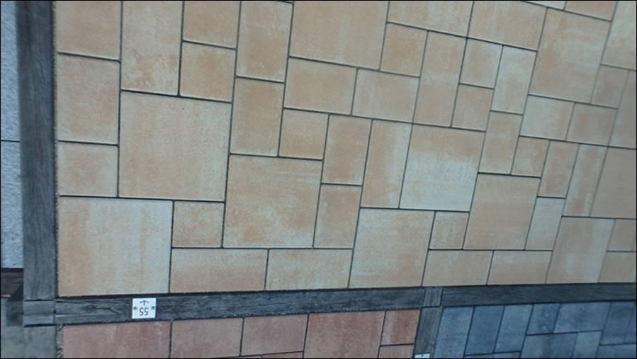 viele muster in der ausstellung gehwegplatten terassenplatten pflastersteine rue25 notizen. Black Bedroom Furniture Sets. Home Design Ideas
