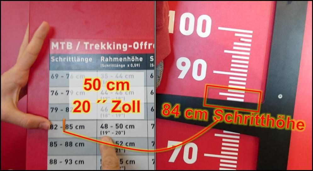 Fahrrad Rahmengrößen beim Walcher gemessen: 52 cm oder 21 Zoll ...